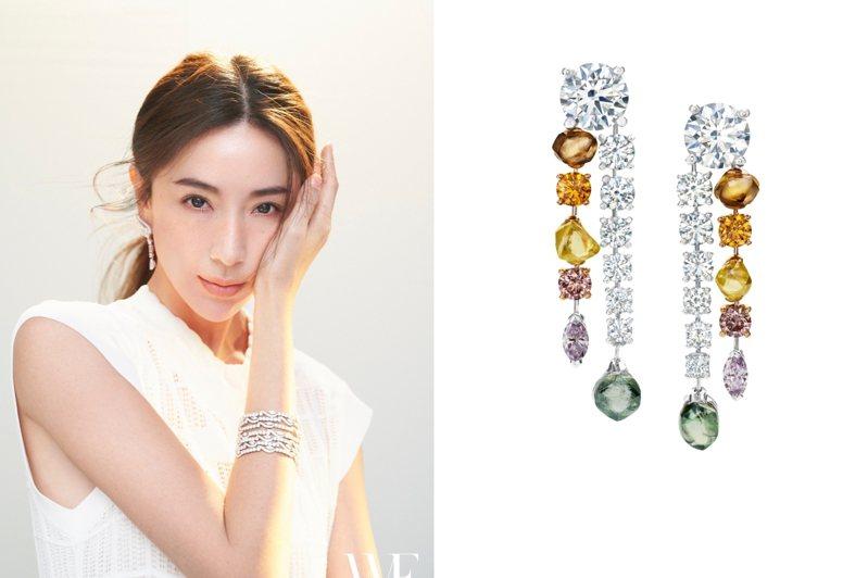 隋棠配戴DE BEERS鑽石珠寶登上名人雜誌封面。圖/DE BEERS提供