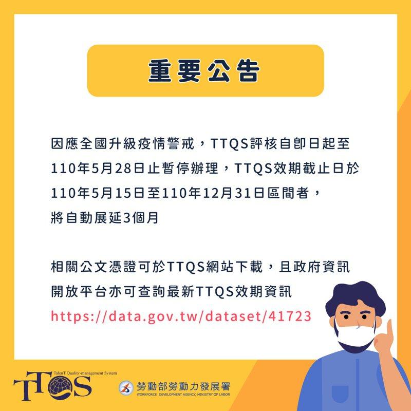 勞動部勞動力發展署宣布,起至5月28日止,全面暫停人才發展品質管理系統(TTQS)評核服務,並自動延長受影響之單位評核效期。圖/勞動部提供