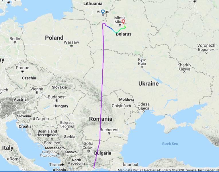 瑞安航空FR4978航班遭迫降白俄,以懷疑有炸彈為由,逮捕異議份子。(photo by Flightradar24截圖)