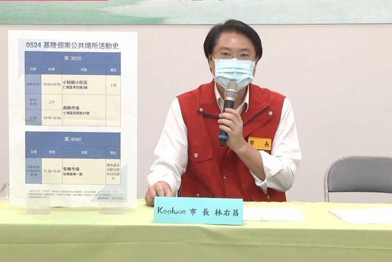 基隆市長林右昌今天宣布,安樂市場從明天起停業到6月3日。圖/取自林右昌臉書直播畫面