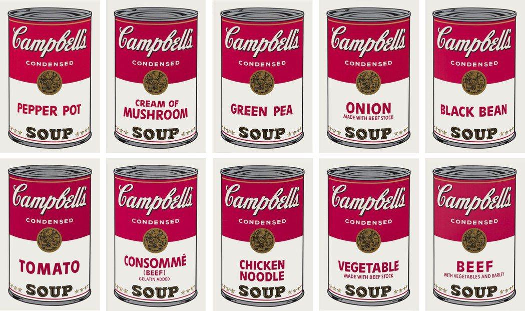 安迪沃荷1968年作「康寶濃湯之一(一套十幅)」,絲網印刷紙本,每幅88.9x5...