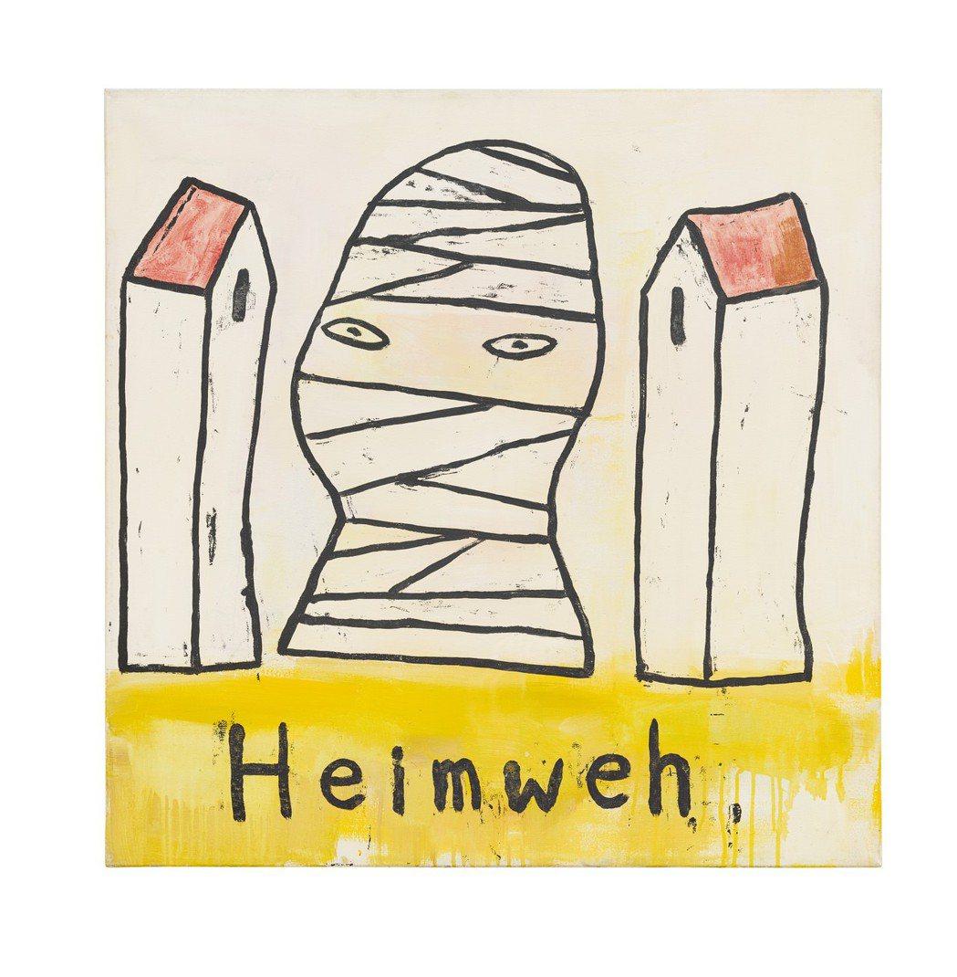 奈良美智1989年作「思鄉病」,壓克力畫布,90x90公分,估價200萬港元起。...