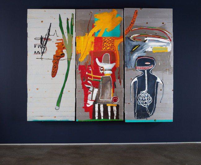 巴斯奇亞1985年作「無題」,壓克力油彩筆木板,共三部分,217.2 x 275...