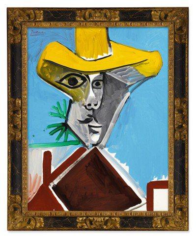 畢卡索1969年作「男子半身像」,油畫畫布,116x89公分,估價9,300萬港...