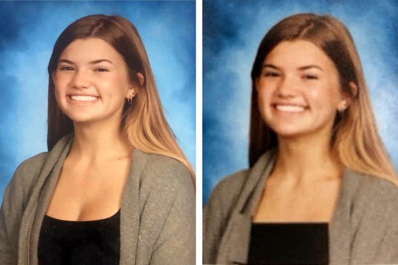 佛罗里达州圣约翰郡的巴特拉姆高中,一名九年级生莱莉发现,校方似乎对毕业纪念册「动了手脚」,偷偷地将共计数十名女同学的照片加上明显的黑色色块,以遮挡她们的胸部,引发轩然大波。截自脸书(photo:UDN)