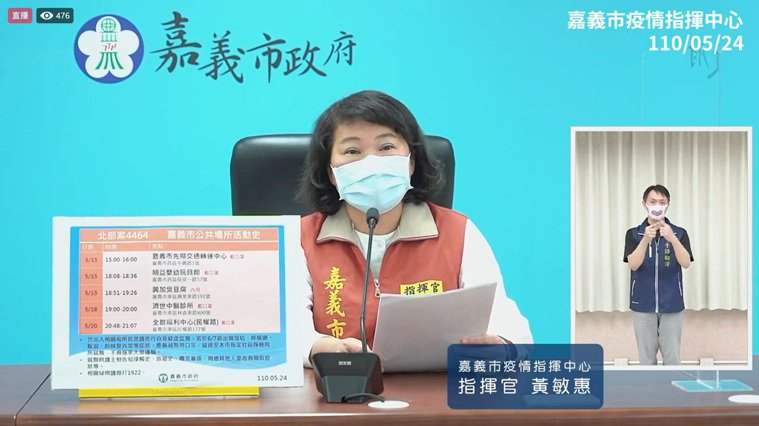 嘉義市長黃敏惠宣布新北2名確診個案,在嘉義市有相關足跡。記者林伯驊/翻攝