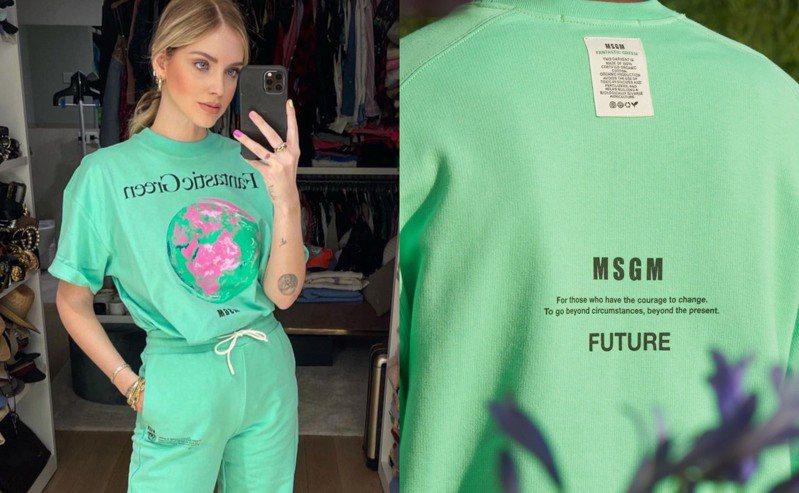 義大利時尚KOL Chiara Ferragni穿MSGM Fantastic Green有機棉T-shirt。圖/摘自ig