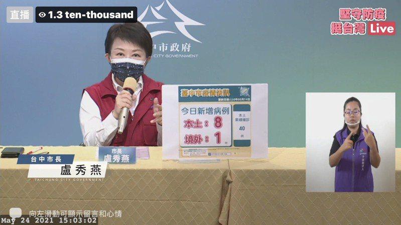 台中市長盧秀燕表示,防疫危機控管寧嚴勿鬆!圖/取自臉書