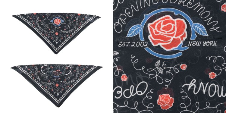 Opening Ceremony rose-print mask 玫瑰印花方巾面...