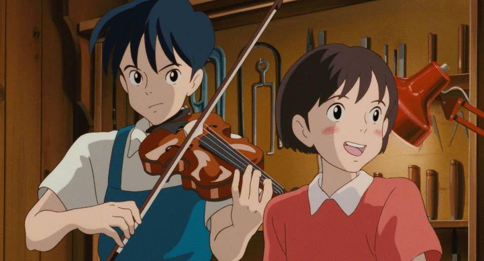 月島雯(右)與聖司(左)一起合作演奏、唱歌。圖:www.ghibli.jp/