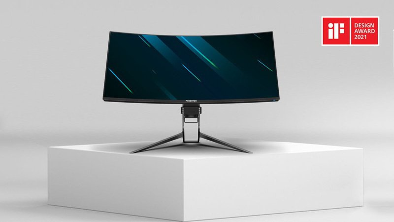 宏碁旗下ConceptD、Predator系列產品獲2021年iF設計獎,圖為Predator X34 S 電競顯示器。宏碁/提供