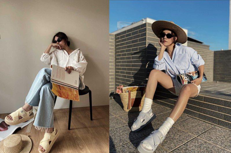 時尚KOL搶先示範搭配EXCELSIOR餅乾涼鞋2,880元。圖/EXCELSIOR提供