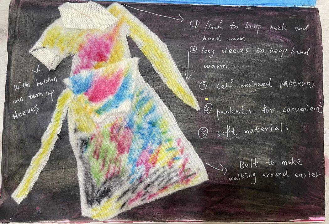邱琦雯學生時期的設計手稿。圖/艾迪昇傳播提供