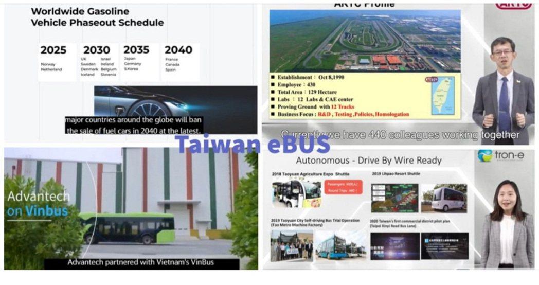 台灣優質電動巴士廠商齊聚一堂線上發表最新產品。貿協提供