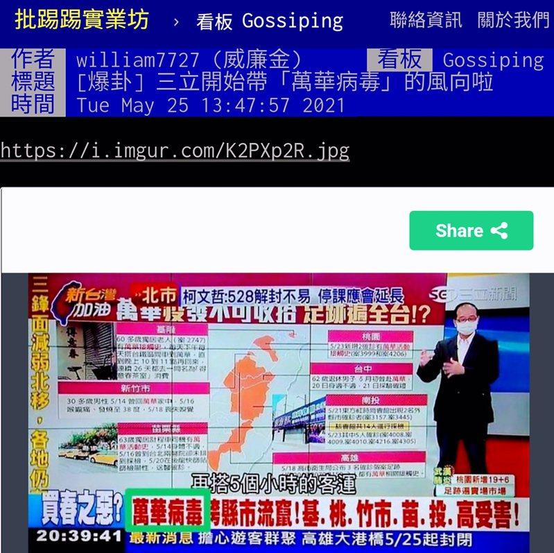 PTT八卦版討論三立新聞台政論節目稱此波疫情為「萬華病毒」。圖/翻攝PTT