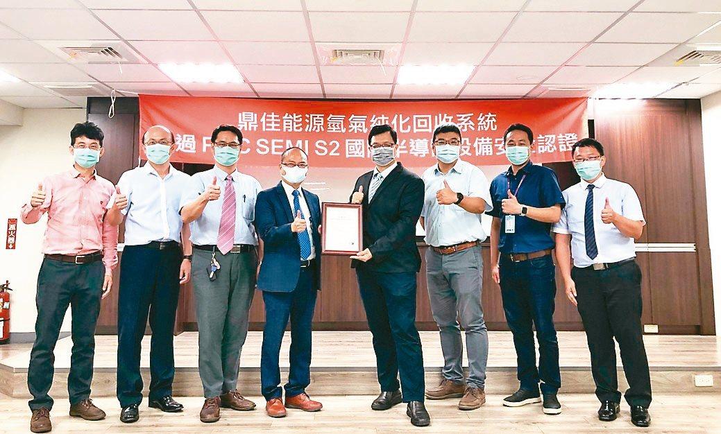 PMC總經理賴永祥(左四)與鼎佳公司董事長閻明宇(左五)及夥伴共同合影。PMC...