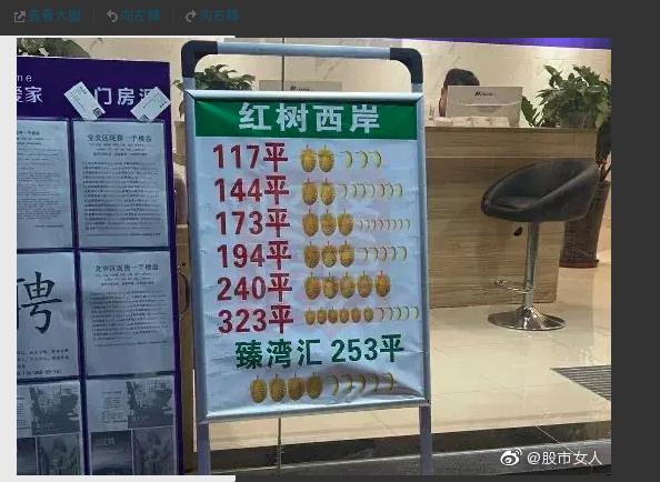 深圳房產中介展示二手房價格的照片:用榴槤和香蕉代替貨幣計算單位,一個榴槤代表1000萬元人民幣,一根香蕉代表100萬元人民幣。(新浪微博照片)