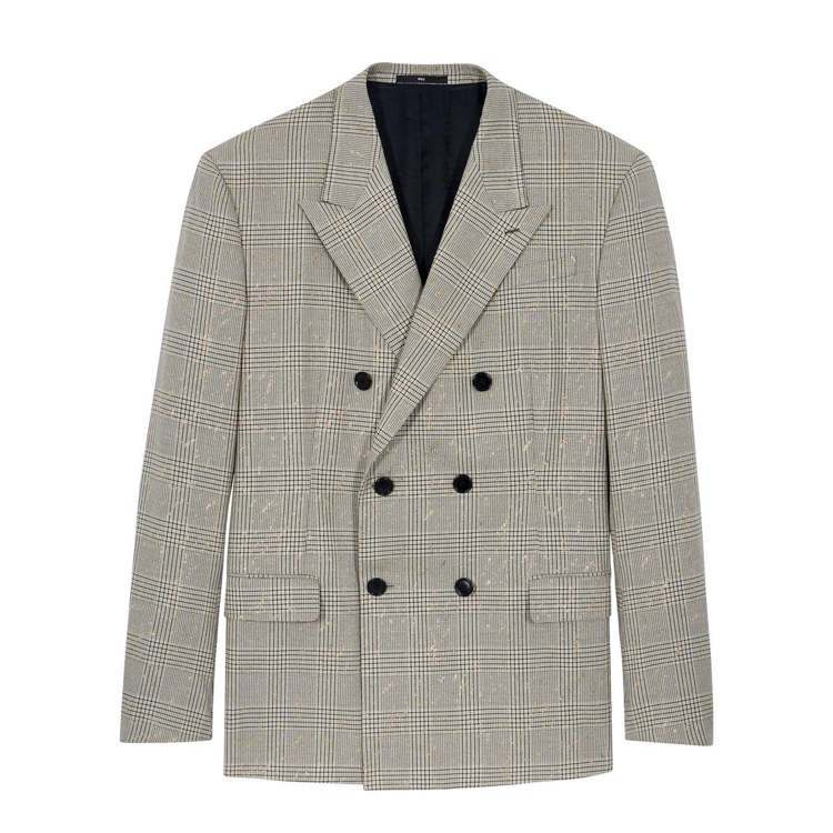 BERLUTI夏季灰色格紋金箔西裝外套10萬9,000元。圖/BERLUTI提供