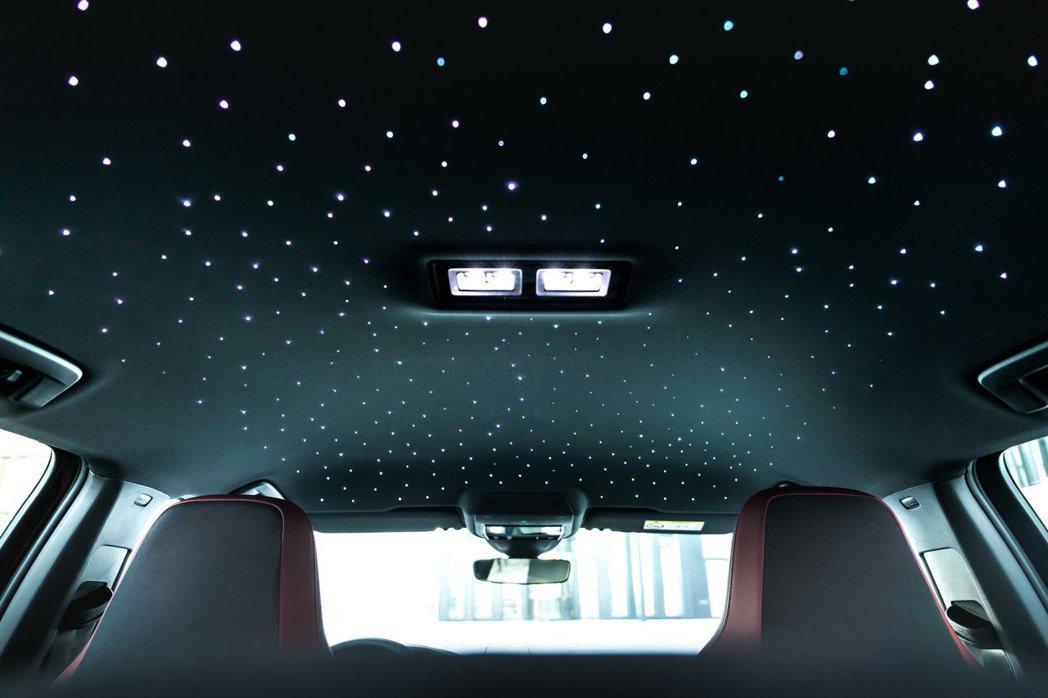 Manhart Golf GTI 290車內黑色頂棚嵌入了數顆LED光源。 摘自...