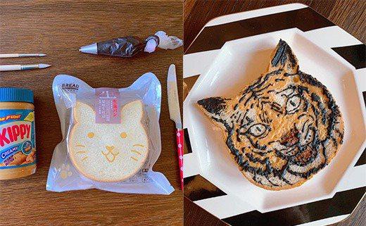 一名人母貼出把貓咪造型吐司畫成老虎的照片,細膩的畫工不僅讓眾多網友稱讚「太強了」。 圖/翻攝自臉書公開社團「我愛全聯-好物老實説」