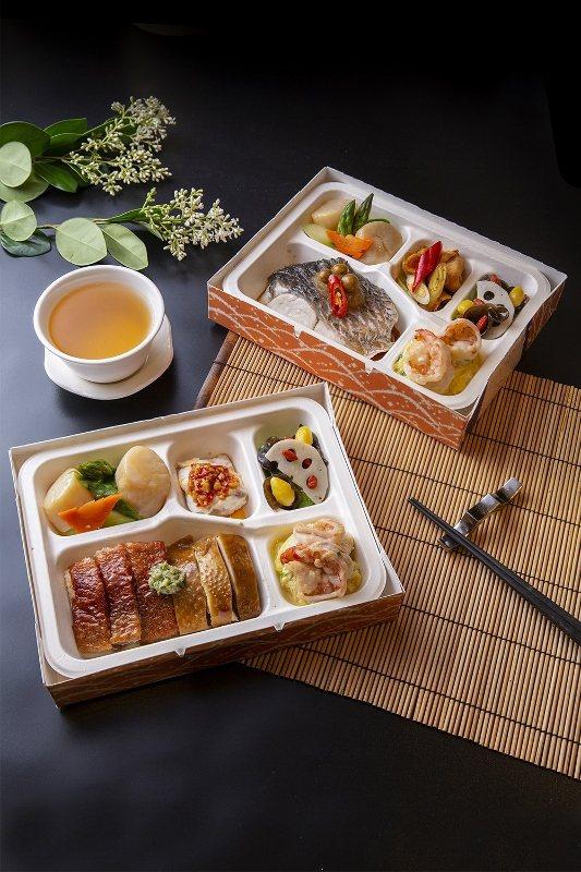 黃金燒鴨與鮮嫩油雞雙拼、樹子蒸鮮魚2款餐盒,配菜以當日食材為準。 業者/提供