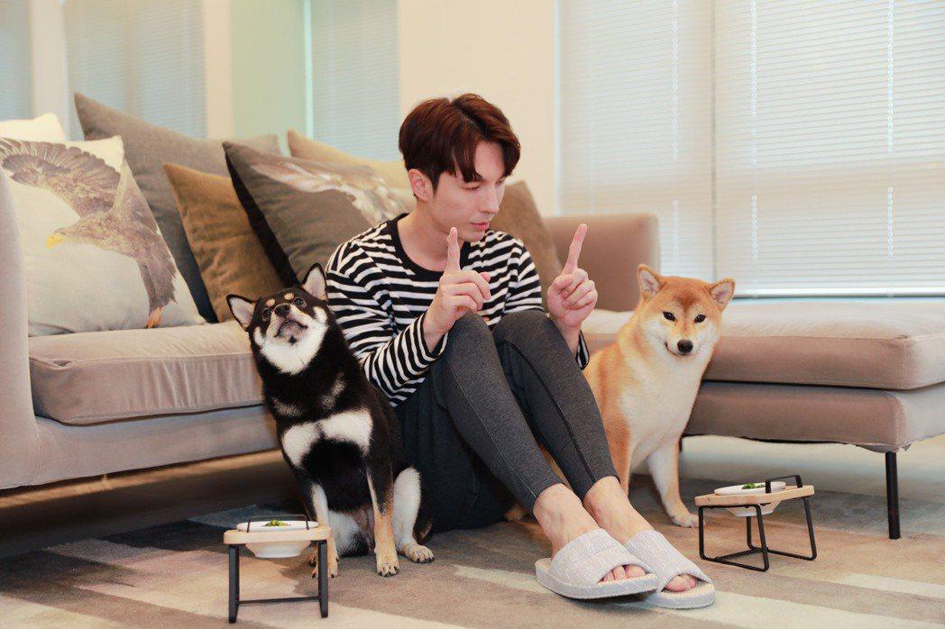 陳勢安(中)近來多在家陪伴兩隻愛犬。圖/有勢有錢娛樂提供