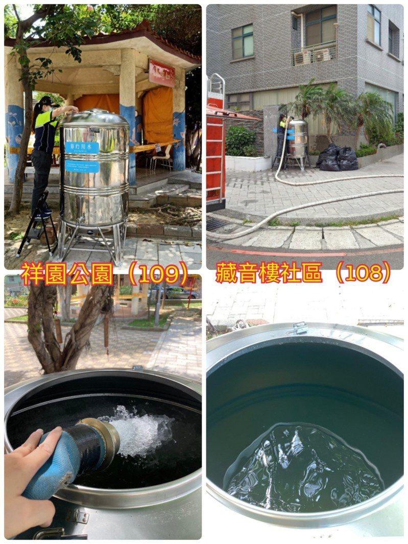 新竹市香山區祥園公園與藏音樓社區設置的供水站已經注水,開放使用。圖/新竹市政府工務處提供