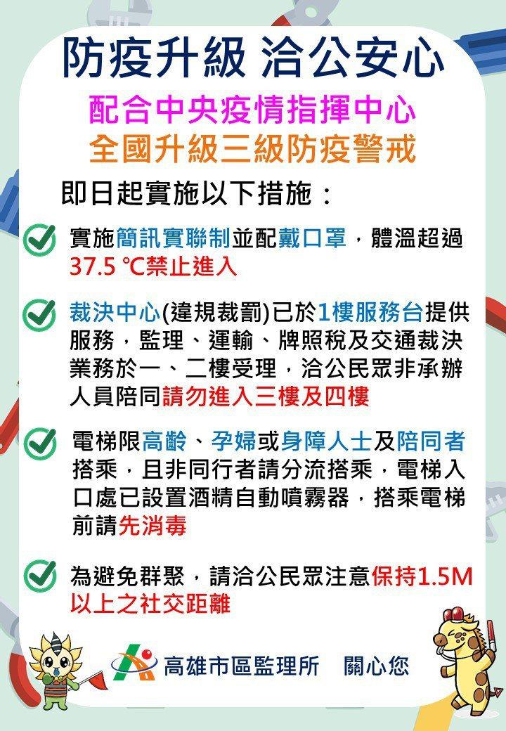 因應防疫政策,高雄市區監理所即日起升級防疫措施。圖/高雄市區監理所提供