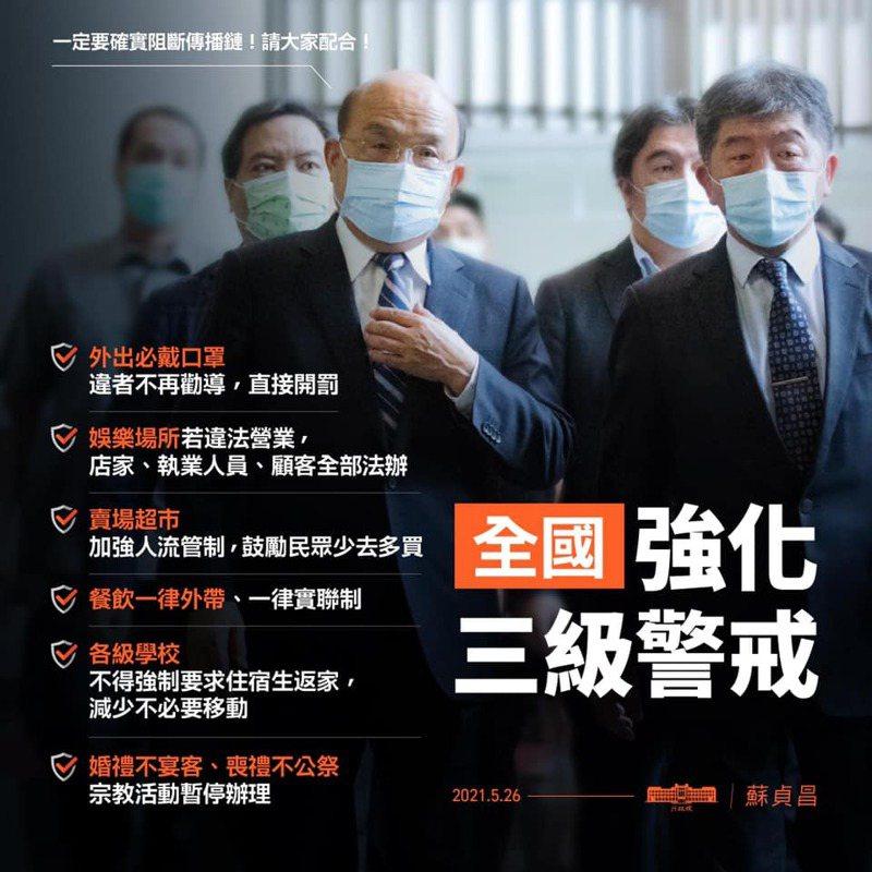 行政院長蘇貞昌呼籲國人配合加強三級警戒的防疫措施。圖/取自蘇貞昌臉書