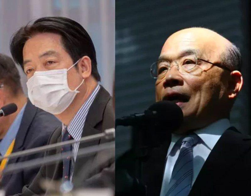國民黨副秘書長謝龍介建議由副總統賴清德(左)或行政院長蘇貞昌(右)擔任指揮官。本報資料照片