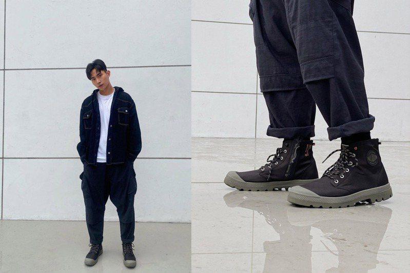 肌肉男星林家佑帥搭Palladium橘標防水RCYCL LT+Z系列靴款3,580元。圖/摘自instagram