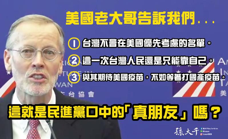 美國在台協會(AIT)處長酈英傑今表示,美國釋出的疫苗還在擬定分配標準,不過台灣確診人數相比全世界仍算低。前立委孫大千表示,這就是民進黨口中的「真朋友」嗎?圖/取自孫大千臉書