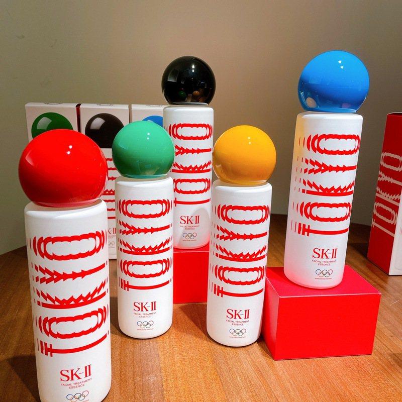 SK-II奧運青春露特別版,以圓形瓶蓋呈現五種顏色代表著奧林匹克五環。記者劉小川/攝影