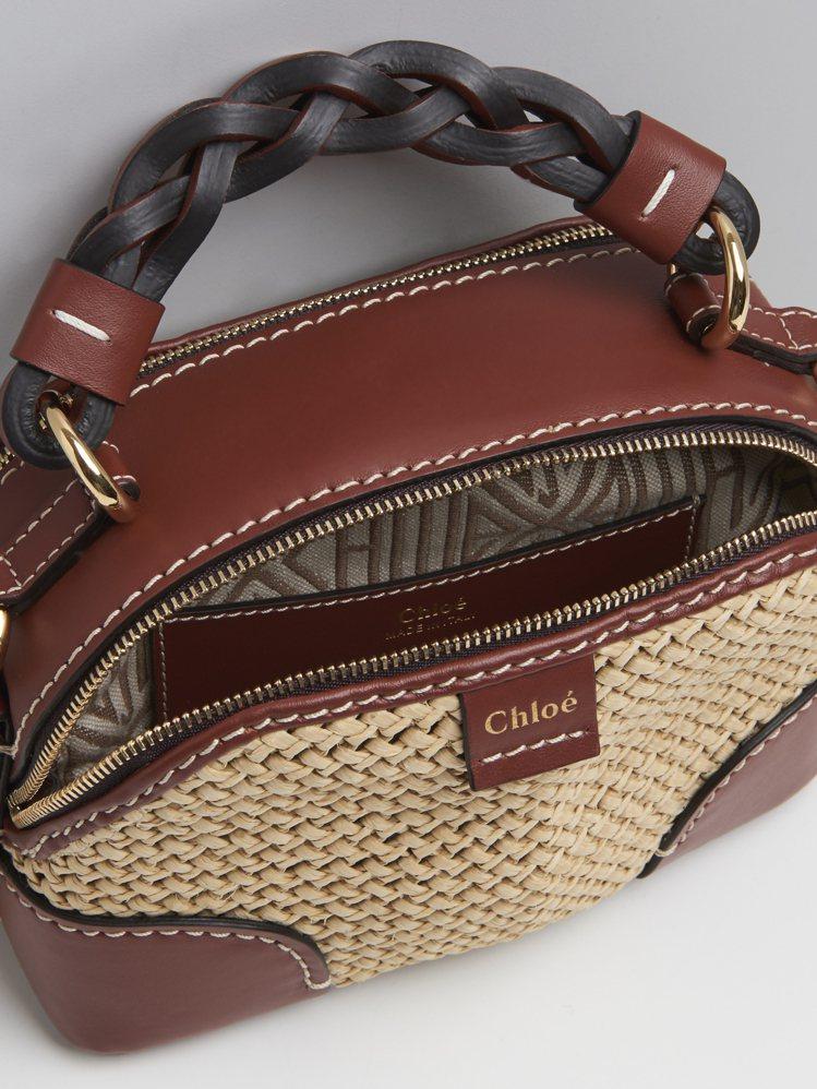 Chloé Daria拉菲草編織迷你肩背提包,50,600元。圖/Chloé提供