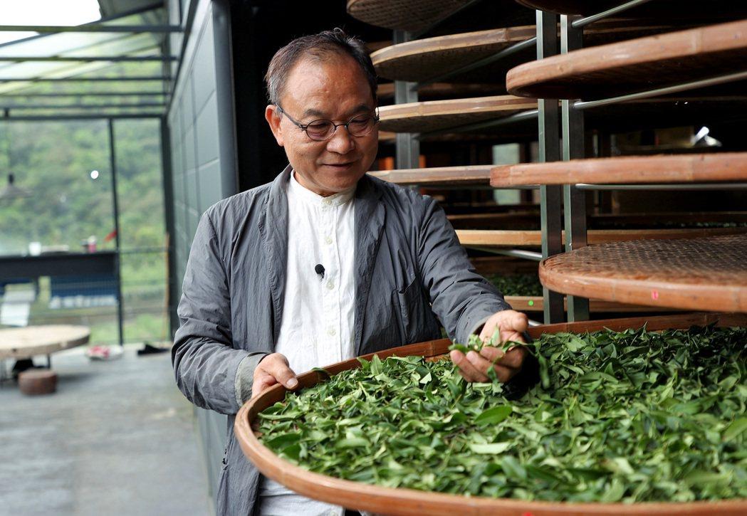 採訪前一天,林憲能做茶做到凌晨兩點,他笑說自己對茶葉充滿無限的愛。攝影/余承翰