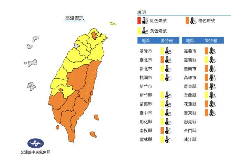 氣象局表示,今花蓮縣縱谷、台東縣,台北市盆地,南投縣、台南市、高雄市、屏東縣近山區或河谷為橙色燈號,有38度極端高溫出現的機率。圖/氣象局提供