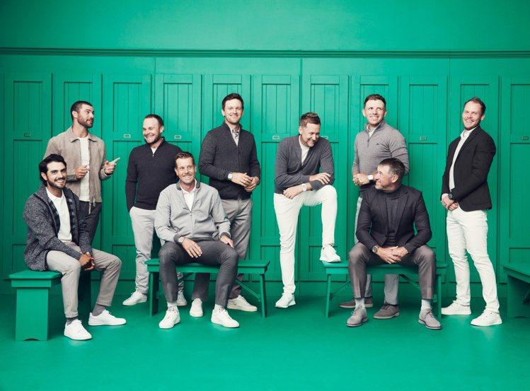 愛彼日前釋出品牌高爾夫夢幻團隊的宣傳照,以綠色更衣室為背景,包含Abraham ...