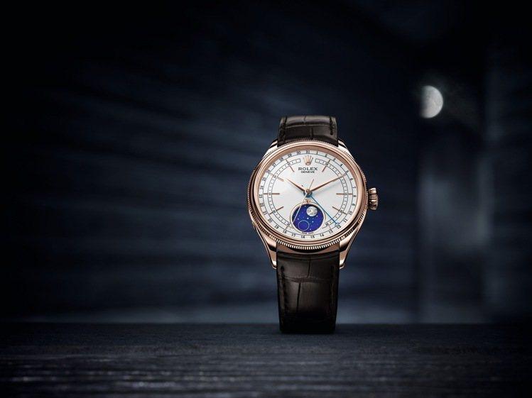 ROLEX Cellini Moonphase腕表,永恆玫瑰金,時間顯示、月相顯...