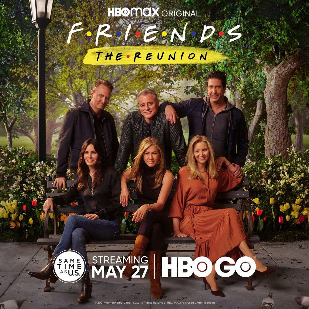 「六人行:當我們又在一起」現正在HBO GO、Catchplay+熱播中,前排左...