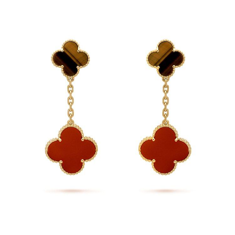 梵克雅寶Magic Alhambra 2枚墜飾耳環,黃K金鑲嵌紅玉髓與虎眼石,約...