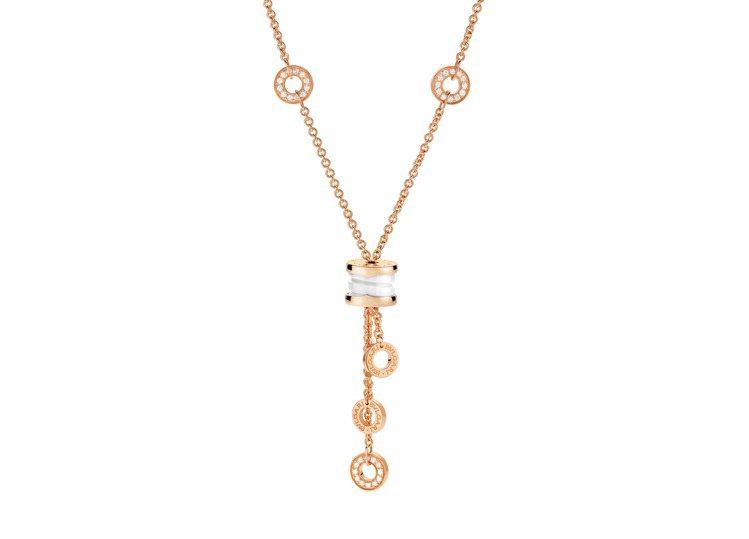 BVLGARI B.zero1系列玫瑰金白陶瓷項鍊,23萬元。圖/寶格麗提供