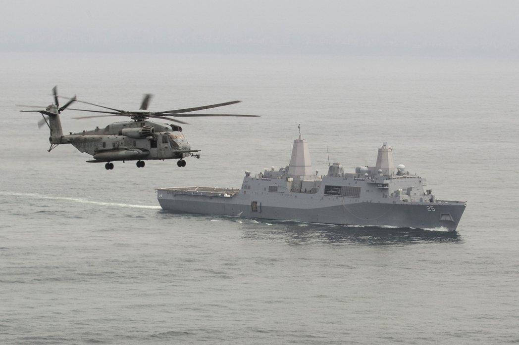 聖安東尼奧級可搭載CH-53等直升機實施立體登陸。圖為薩莫塞特號。 圖/美國海軍陸戰隊
