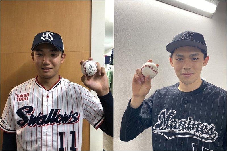 2019年日本隊U18陣中雙王牌佐佐木朗希(右)及奧川恭伸(左),昨(27日)也在日職同天先發並拿下勝投,也意味著這些日職新世代強投將逐漸崛起。 截圖自養樂多與羅德官方推特