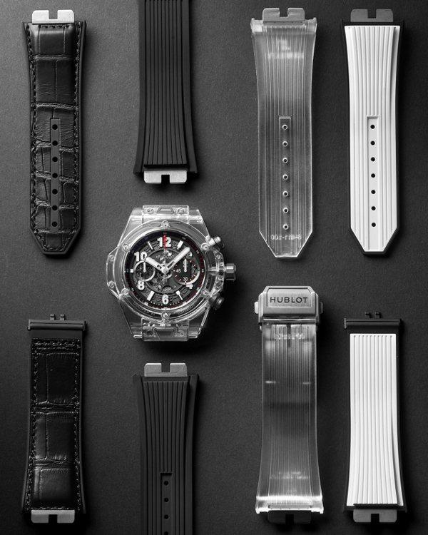 HUBLOT經典的Big Bang Unico系列錶款搭配快拆表帶功能。 圖/宇...