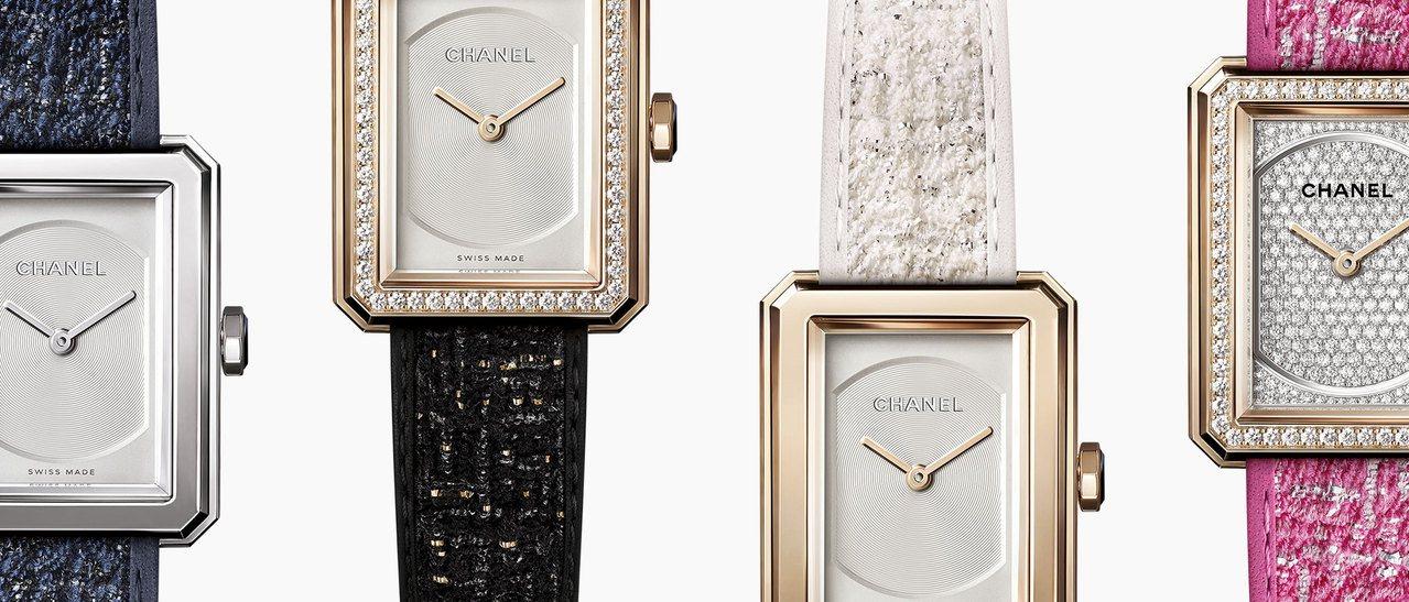 香奈兒BOY∙FRIEND腕表搭載可替換式表帶設計,表帶亦有品牌著名的斜紋軟呢布...