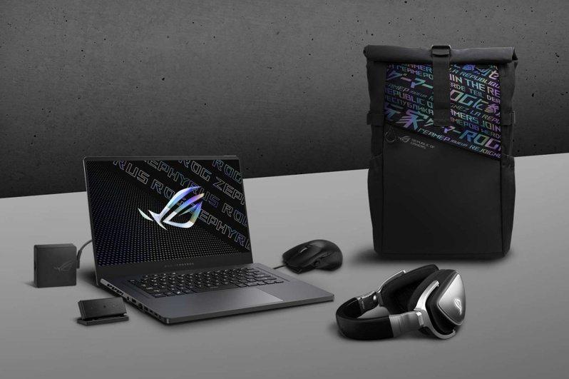 ▲換上新一代AMD+NVIDIA顯示卡設計的Zephyrus G15,在原廠盒裝將額外提供一組ROG後背包