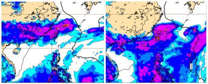 最新歐洲模式模擬地面氣壓及前12小時累積降水圖顯示,下周二20時滯留鋒仍在台灣,雨帶籠罩各地(左圖)。6日20時滯留鋒及明顯雨帶仍籠罩台灣(右圖)。圖/取自「三立準氣象.老大洩天機」專欄