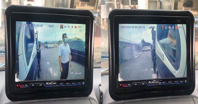 左右兩側視野鏡頭及可顯示車身兩側影像之車內螢幕。圖/苗栗縣警局提供