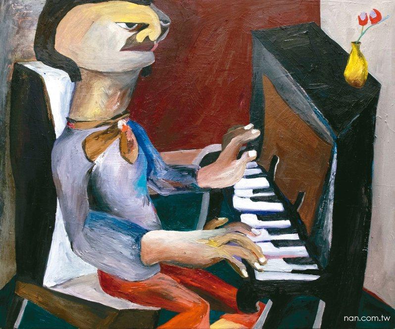 詹賀油彩作品〈鋼琴師〉。