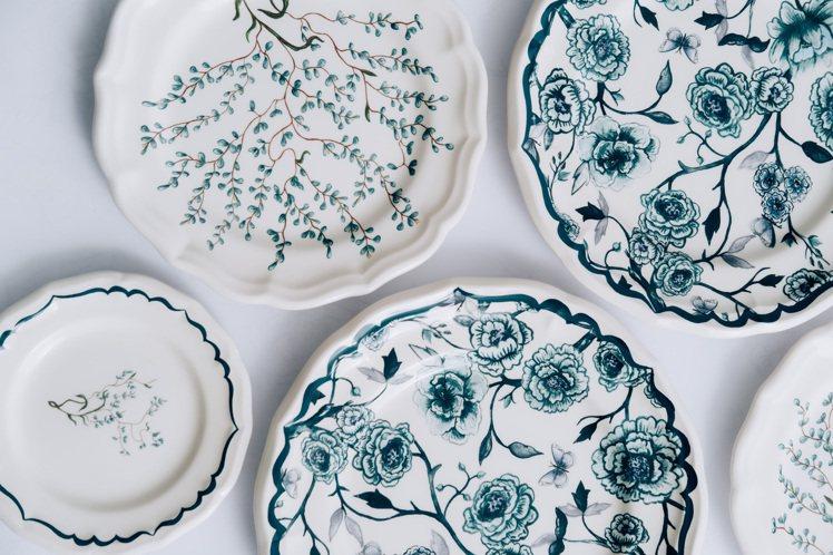 花園系列餐瓷的靈感,來自迪奧先生的諾曼第剛維爾家族宅邸花園。圖/DIOR提供